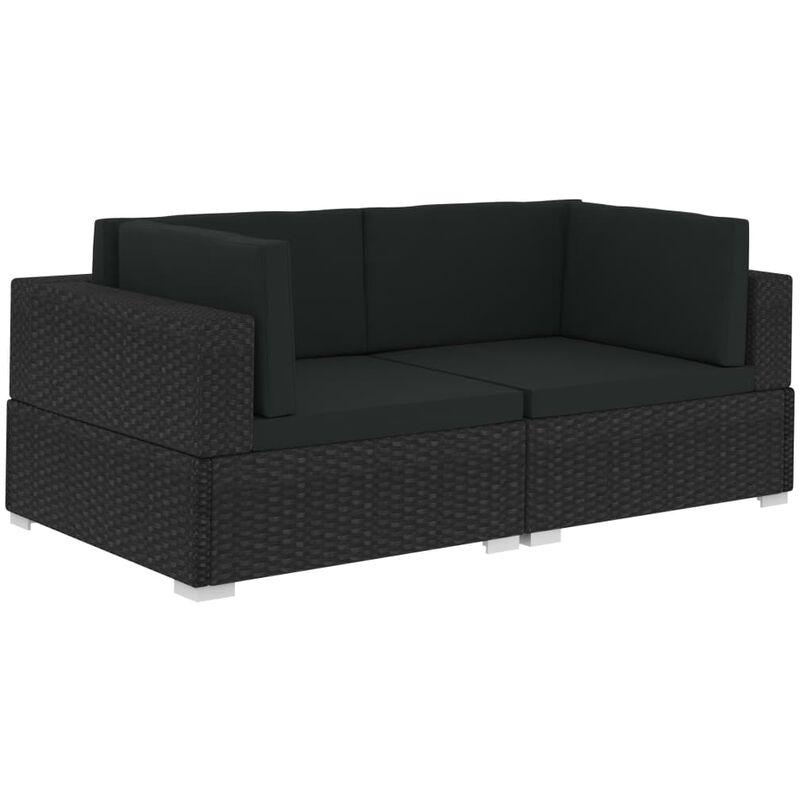 Vidaxl - Chaises d'angles 2 pcs avec coussins Résine tressée Noir