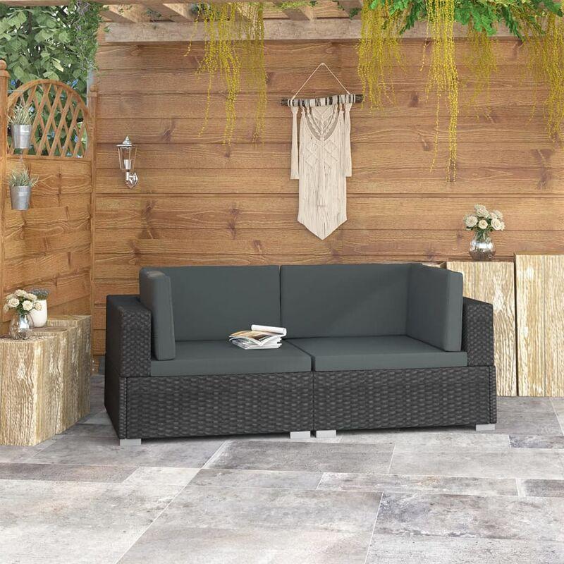 Chaises d'angles 2 pcs avec coussins Resine tressee Noir