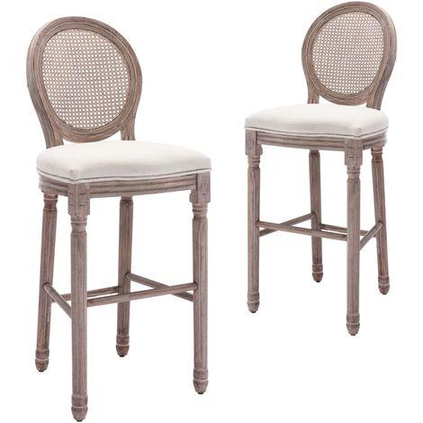 Chaises de bar 2 pcs Blanc Lin