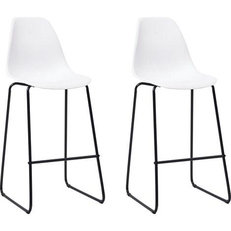 Chaises de bar 2 pcs Blanc Plastique