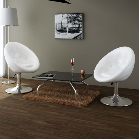 Chaises de bar 2 pcs Blanc Similicuir