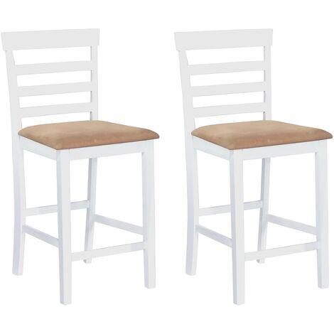 Chaises de bar 2 pcs Blanc Tissu