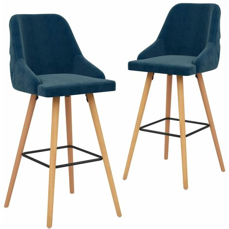 Chaises de bar 2 pcs Bleu Velours