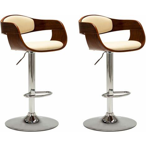 Chaises de bar 2 pcs Crème Bois courbé et similicuir
