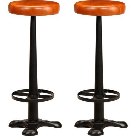 Chaises de bar 2 pcs Cuir véritable