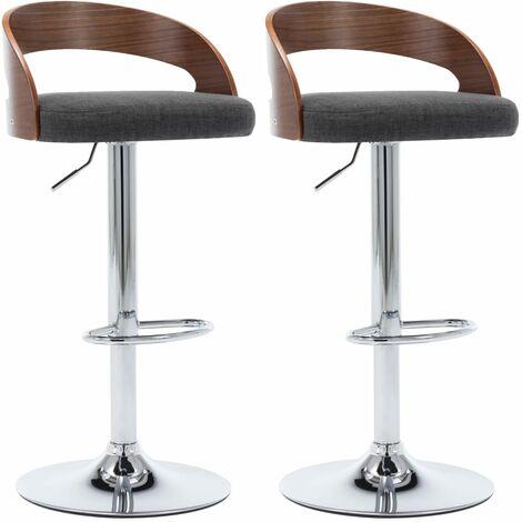 Chaises de bar 2 pcs Gris foncé Tissu et bois courbé
