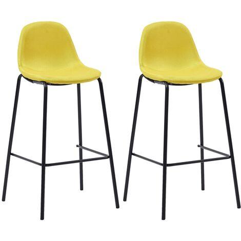 Chaises de bar 2 pcs Jaune Tissu