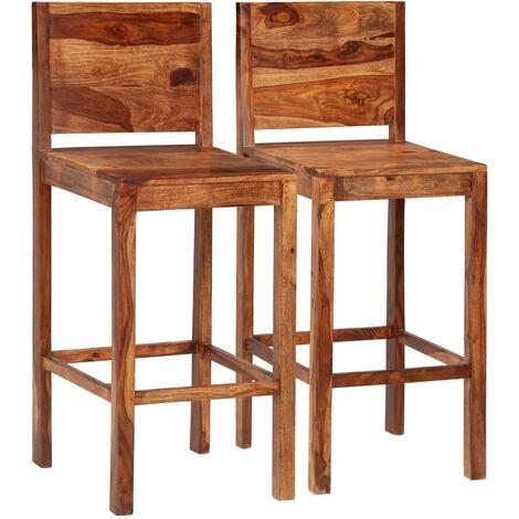 Chaises de bar 2 pcs Marron Bois solide de Sesham