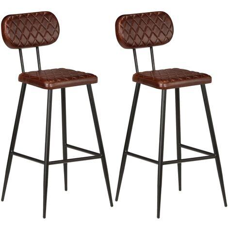 Chaises de bar 2 pcs Marron Cuir véritable