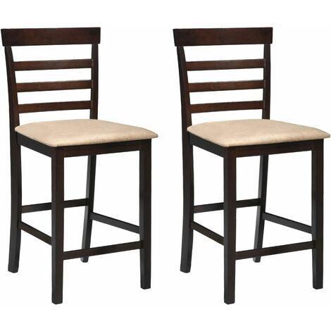 Chaises de bar 2 pcs Marron Tissu