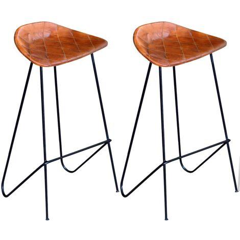 Chaises de bar 2 pcs Noir et marron Cuir véritable