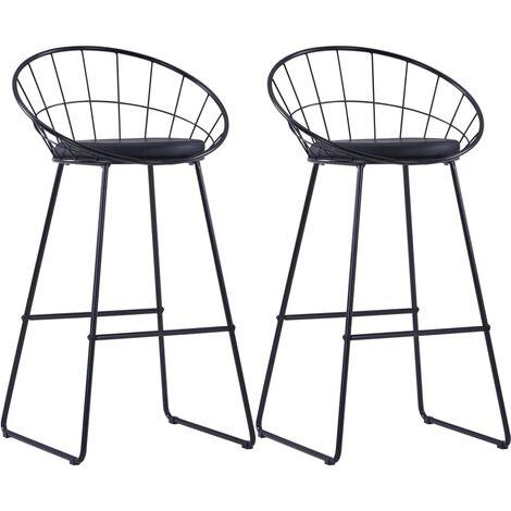 Chaises de bar 2 pcs Noir Similicuir