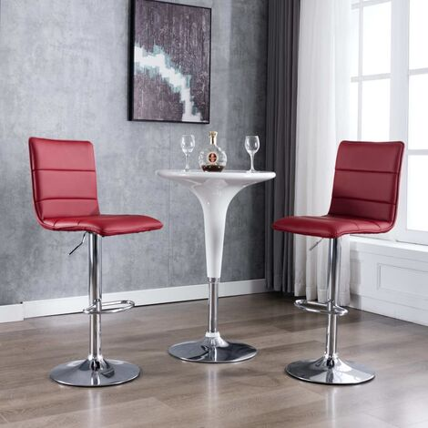 Chaises de bar 2 pcs Rouge bordeaux Similicuir