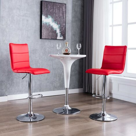 Chaises de bar 2 pcs Rouge Similicuir