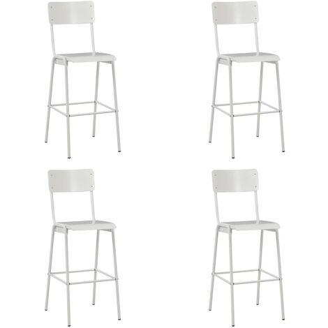 Chaises de bar 4 pcs Blanc Contreplaqué solide et acier