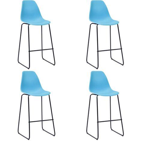 Chaises de bar 4 pcs Bleu Plastique