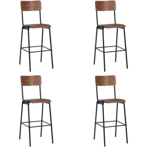 Chaises de bar 4 pcs Contreplaqué solide et acier