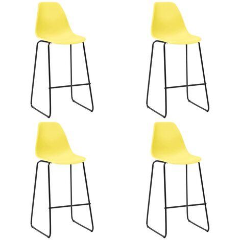 Chaises de bar 4 pcs Jaune Plastique