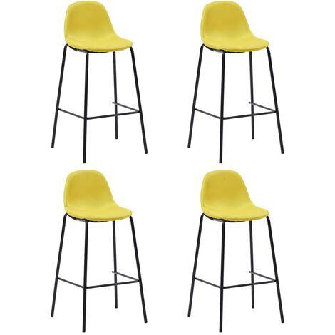 Chaises de bar 4 pcs Jaune Tissu