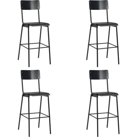 Chaises de bar 4 pcs Noir Contreplaqué solide et acier