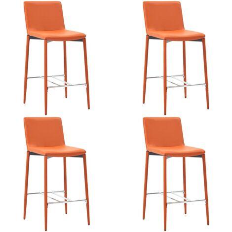 Chaises de bar 4 pcs Orange Similicuir