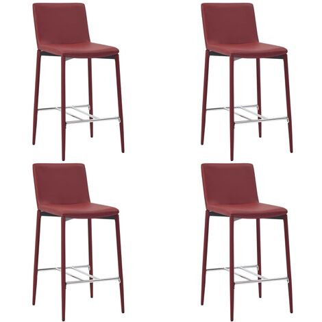 Chaises de bar 4 pcs Rouge bordeaux Similicuir