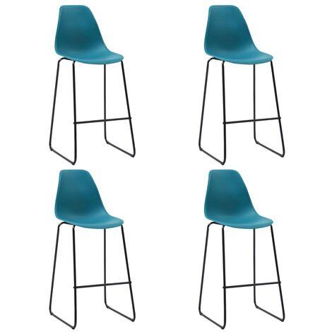 Chaises de bar 4 pcs Turquoise Plastique