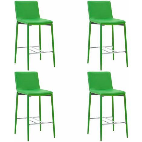 Chaises de bar 4 pcs Vert Similicuir