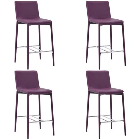 Chaises de bar 4 pcs Violet Similicuir