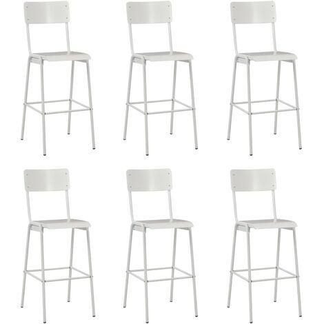 Chaises de bar 6 pcs Blanc Contreplaqué solide et acier