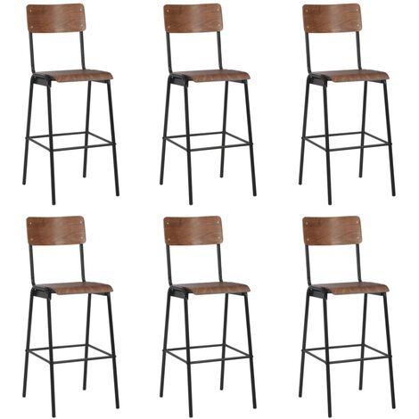Chaises de bar 6 pcs Contreplaqué solide et acier