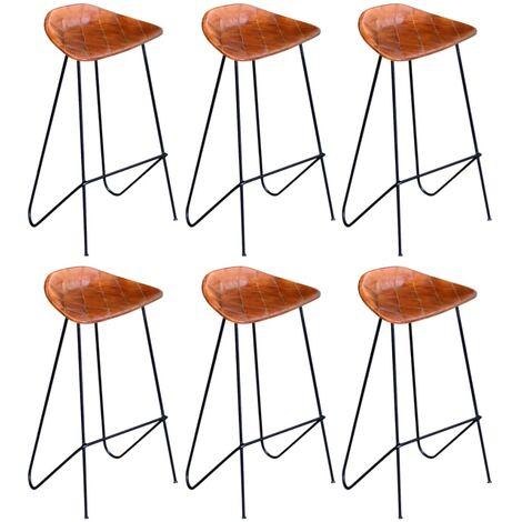 Chaises de bar 6 pcs Marron Cuir véritable