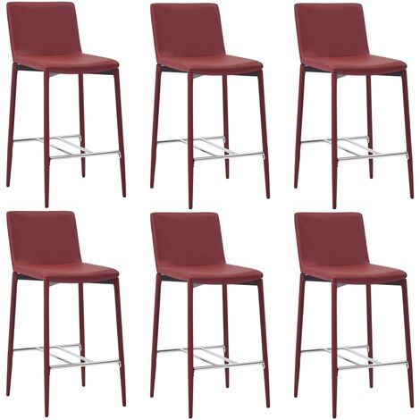 Chaises de bar 6 pcs Rouge bordeaux Similicuir
