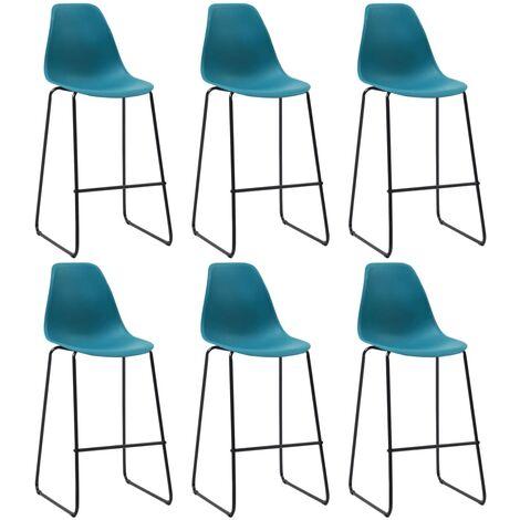 Chaises de bar 6 pcs Turquoise Plastique