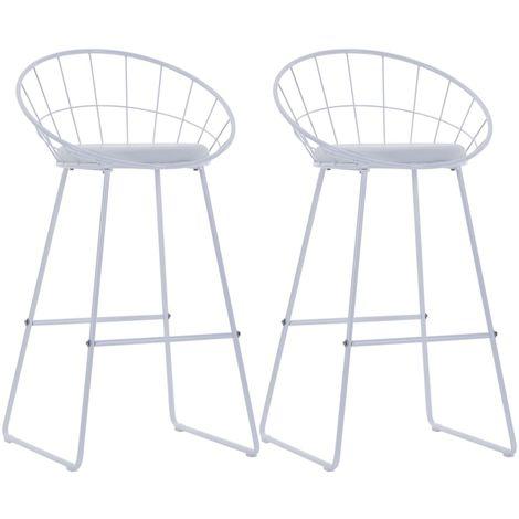 Chaises de bar avec sieges en similicuir 2 pcs Blanc Acier