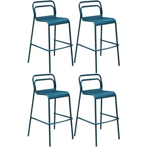 Chaises de bar en aluminium Eos (Lot de 4) Bleu nuit - Bleu nuit
