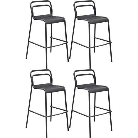 Chaises de bar en aluminium Eos (Lot de 4) Graphite