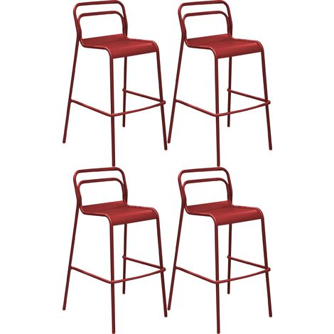 Chaises de bar en aluminium Eos (Lot de 4) Rouge