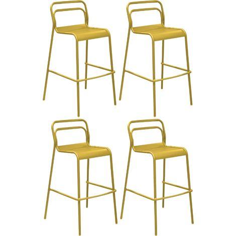 Chaises de bar en aluminium Eos (Lot de 4) Tournesol
