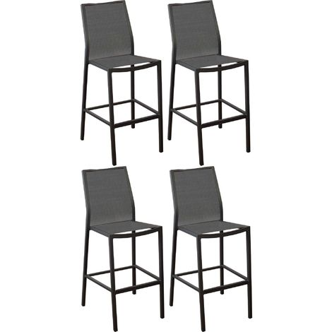 Chaises de bar en aluminium Ida (Lot de 4) Gris