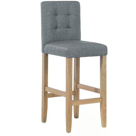 Chaises de bar en tissu gris et en bois d'hévéa