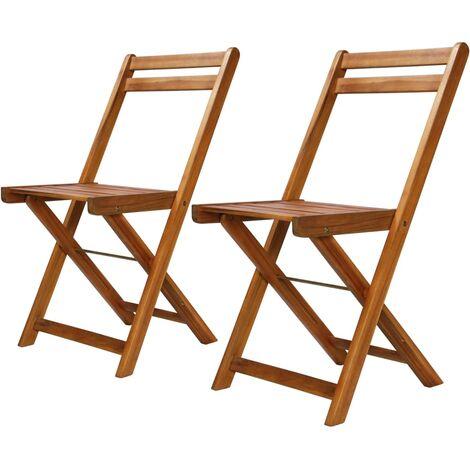 Chaises de bistro d'extérieur 2 pcs Bois d'acacia solide