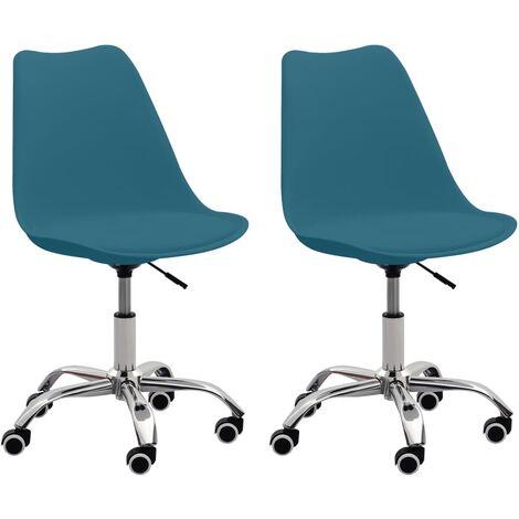 Chaises de bureau 2 pcs Turquoise Similicuir