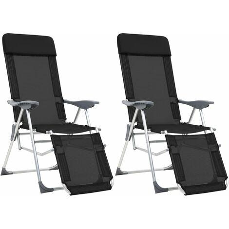 """main image of """"Chaises de camping pliables 2 pcs et repose-pied Noir Aluminium"""""""