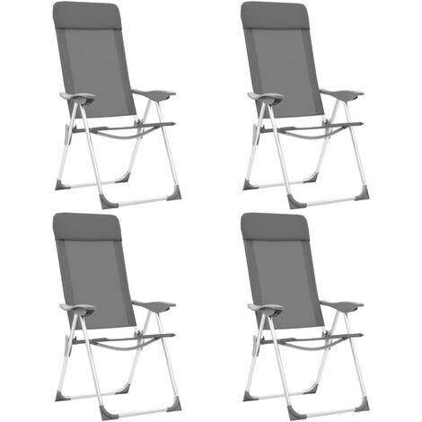 Chaises de camping pliables 4 pcs Gris Aluminium 44307