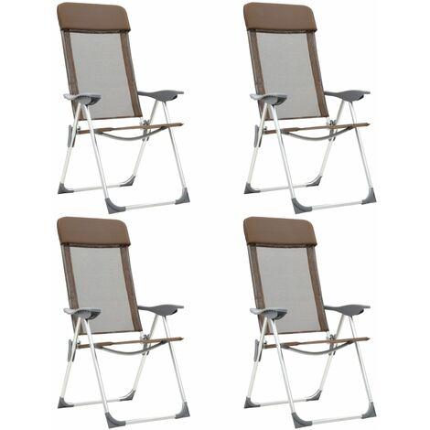 Chaises de camping pliables 4 pcs Marron Aluminium 44311