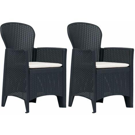 Chaises de jardin 2 pcs avec coussin Anthracite Plastique