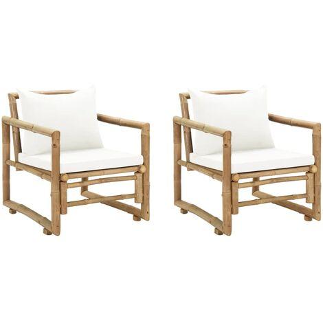 Chaises de jardin 2 pcs avec coussins et oreillers Bambou
