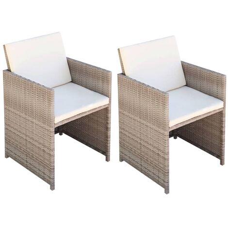 Chaises de jardin 2 pcs avec coussins Résine tressée Beige ...