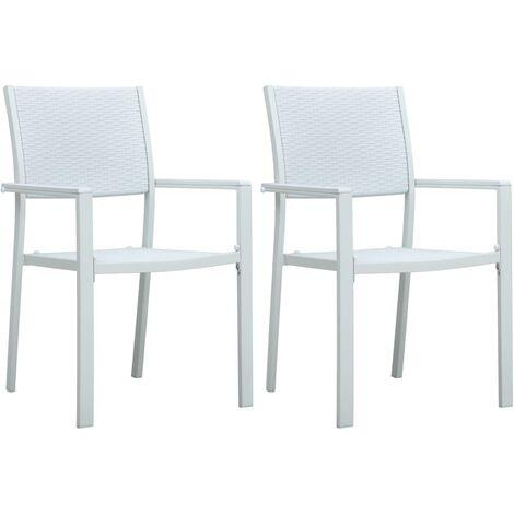 Chaises de jardin 2 pcs Blanc Plastique Aspect de rotin